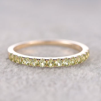 Half eternity Peridot Wedding Band,Solid 14K Rose gold,Anniversary Ring,Engagement stacking ring,Prong Set,2mm Green gem stone,can engrave