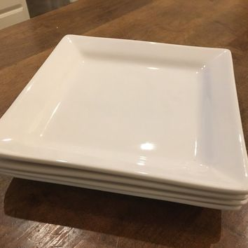 Set of 4 - Oneida Chef's Table Square 8 Inch Salad Plates Fine Porcelain EUC