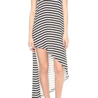 ROMWE Oblique Shoulder Asymmetric Hem Striped Dress