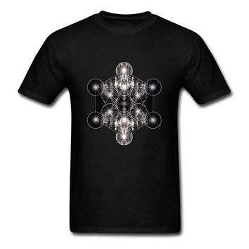 Unique Metatron Cube Tees Men Short Sleeved Round Neck Soft Cotton T-shirt Brands