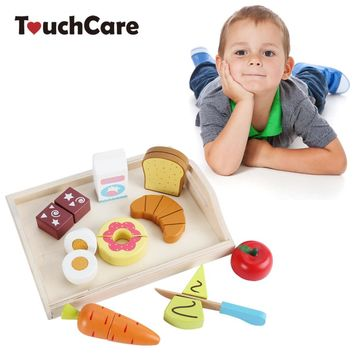 TouchCare Kids Wooden Toys Children Simulation Kitchen Tool Pretend Play Cutting Fruit Vegetable Miniature Food Wood Cooking Toy