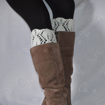 Choose your color Lace boot cuffs white leg warmers hand knitted boot toppers boho gift under 25 Choose your color Made to Order