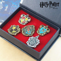5 Set Harry Potter Hogwarts House Badge Gryffindor Slytherin Ravenclaw Hufflepuff Pin Brooch Collection Gift Metal Set +Box