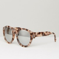 ASOS Chunky Round Sunglasses In Tort With Flash Lens at asos.com