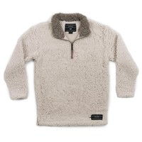 Youth Appalachian Pile Sherpa Pullover in Oatmeal by Southern Marsh
