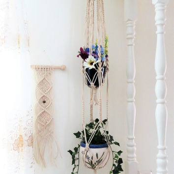 "White macrame plant hanger, double, 2 tier, 3mm NATURAL COTTON, 56"", hanging planter basket, pot holder, large, gift, modern, hippie, indoor"