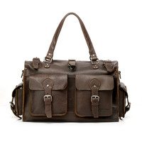 Vicenzo Picasso Coffee Brown Leather Travel Duffel Bag