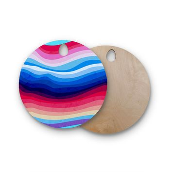 "Tobe Fonseca ""Melted Rainbow"" Multicolor Digital Abstract Round Wooden Cutting Board"