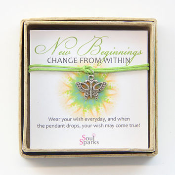New Beginnings: Silver Butterfly Charm and Apple Green Cord Make a Wish Bracelet / Anklet in a Gift Box, Spring bracelet, butterfly bracelet