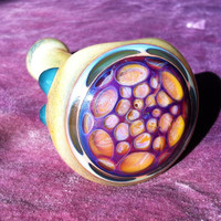 Honeycomb Glass Pipe - Sparkly Amber & Amethyst Purple w/ Aqua Dots