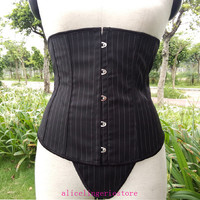 Sexy Black Boned Underbust Waist Cincher Corset Bustier With G-string