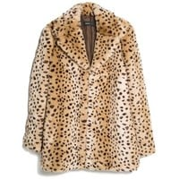 MANGO Leopard Faux Fur Coat