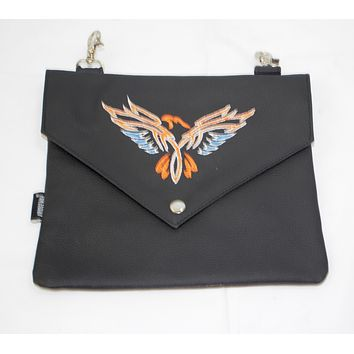 motorcycle leather clip on clutch purse