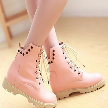 New Women Pink Round Toe Rivet Lace-up Fashion Martin Boots