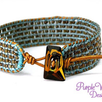 Beaded Leather Macrame Bracelet, Knotted Cuff Bracelet with Cube Beads, Seed Beads & Swarovski Button - Aqua/Copper