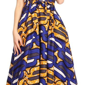 Sakkas Evra Women's Short Sleeve Maxi African Ankara Print Dress Pockets Casual