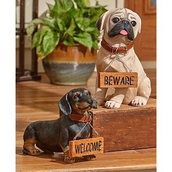 Unique Decorative Welcome or Beware Entry Dog Breed Home Decor Statues