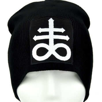Crux Satanus Leviathan Cross Beanie Knit Cap Occult Clothing Black Sulphur