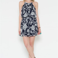 Chiffon Floral Print Dress - Navy - FINAL SALE