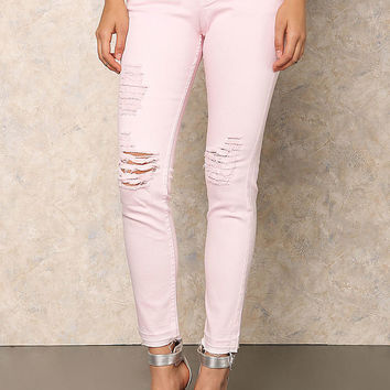 Pink Low Rise Distressed Skinny Jeans