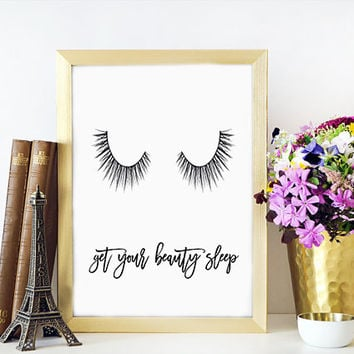 LASHES Print,Fashion Poster,Scandinavian Design,Wall Art,Bedroom Decor,Typography Art,PRINTABLE Art,Get Your Beauty Sleep,Lashes Digital Art