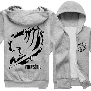 New Anime Fairy Tail Natsu Print Warm Hoody Cartoon Unisex Hoodies Cosplay Costumes Sweatershirts Zipper Hooded Coat Jacket