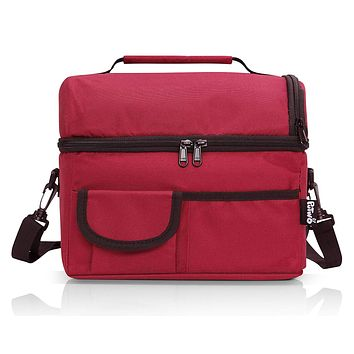 PuTwo Lunch Bag 8L Insulated Lunch Bag Lunch Box Lunch Bags Women Lunch Bag Men Cooler Bag YKK Zip Adjustable Shoulder Strap Lunch Tote Kids Lunch Box Lunch Pail - Wine Red