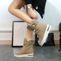 2017 New Winter Women's Boots Plus Velvet Swing Shoes Snow Platform Boots Female Thermal Cotton-padded Shoes Flat Ankle Boots