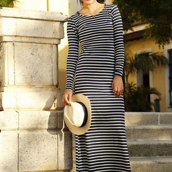 Marcela Maxi Dress Navy and White