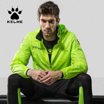 KELME Sports Men Women Soccer Jersey Jacket Running Training Hiking Waterproof Raincoats Hooded Jacket Spring Autumn OutdoorCoat