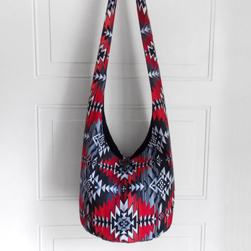 Cross Body Bag Hobo Bag Hippie Purse Sling Bag Boho Bag Slouch Bag Hobo Purse Hippie Bag Aztec Southwestern Hobo Bag Geometric Handmade Bag