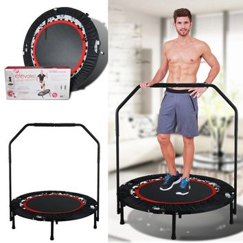 Fitness Workout 40 Inch Mini Rebounder Trampoline with Adjustable Handrail