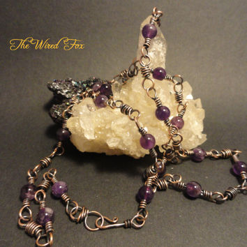 """Handcrafted Wire Wrapped Amethyst Gemstone 27"""" Necklace"""