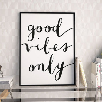 Good Vibes Only Print, Black And White Wall Decor, Affiche Scandinave, Scandinavian Poster, Inspirational Quote Poster, Home Decor