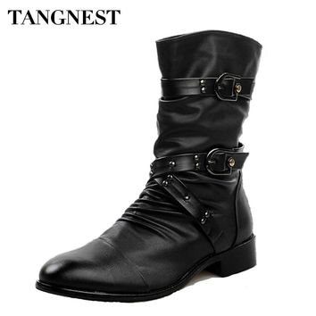 Tangnest 2017 Men Martin Boots Pu  Leather Men Rivet Shoes Mid-Calf Boots Male Low Heels Men Boots Size 37-44 XMX502