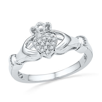 10kt White Gold Womens Round Diamond Claddagh Hands & Heart Cluster Ring 1/20 Cttw 100890