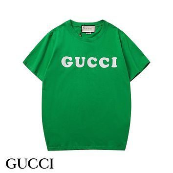 GUCCI Summer Popular Women Men Candy Color T-Shirt Top Green
