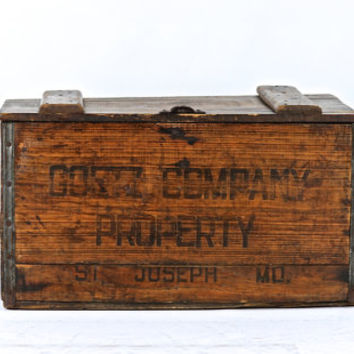 Wooden Goetz Company Beer Crate, Vintage Wood Beer Crate, Industrial Decor
