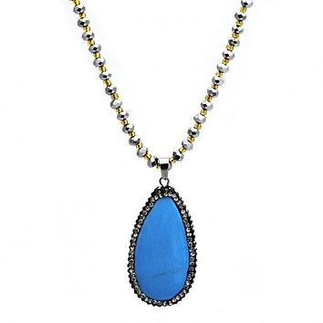Stainless Steel 04.232.0007.31 Fancy Necklace, Teardrop Design, with Dark Brown Crystal and Blue Topaz Opal, Polished Finish, Steel Tone