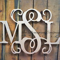 "26"" x 30"" Wooden Monogram- Monogram Wall Hanging- Wedding Monogram- Wooden Letters- Nursery Decor- Door Wreath- Vine Script Wooden Monogram"