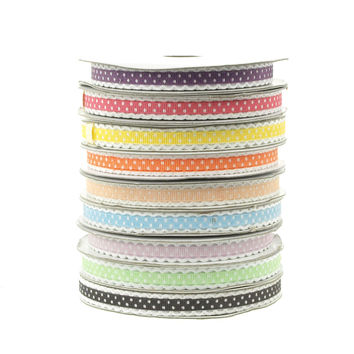 Polka Dot Picot-edge Polyester Ribbon, 3/8-inch, 25-yard