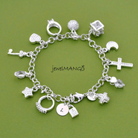 silver charm bracelet, cross, ring, star, key, moon, lock, ball, Silver Charm Jewelry, holiday gift idea, christmas gifts for her