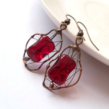 Copper wire earrings, bohemian jewelry, gift idea, contemporary earrrings, beaded red earrings, artistic funky jewelry, Cherry