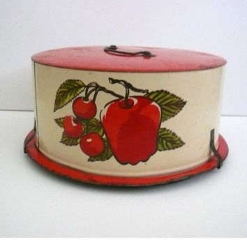 Vintage Tin Lithograph Cake Carrier Apples Cherries