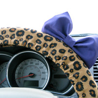 Cheetah Steering Wheel Cover with Matching Purple by BeauFleurs