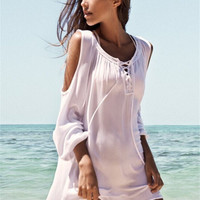 Beach Dress Tunic 2016 Women Long Sleeve White Hollow Out Casual Loose Ladies Clothing Summer Hippie Boho Vestidos