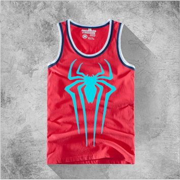 Cosplay Spiderman Vest Men Tank Tops Spider Man Sleeveless Cotton T-shirt