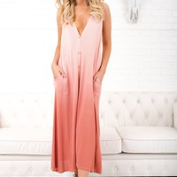 Follow That Feeling Button Up Maxi (Rose)