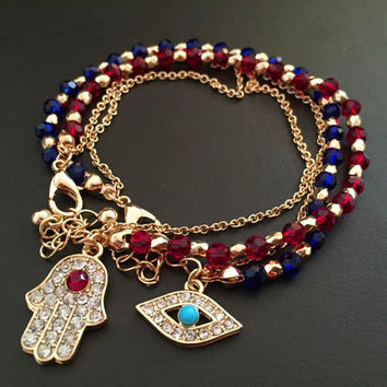 FREE New Crystal Chain Evil Eye Hamsa Hand Fatima Palm Bracelet