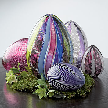 Multicolor Spring Cane Egg by Paul Lockwood (Art Glass Sculpture) | Artful Home